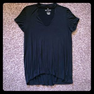 American Eagle Soft & Sexy Front Keyhole Black Tee